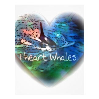 Amo ballenas de la orca en regalos del corazón membrete