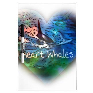 Amo ballenas de la orca en regalos del corazón tableros blancos