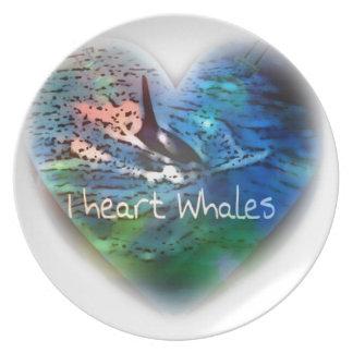 Amo ballenas de la orca en regalos del corazón plato