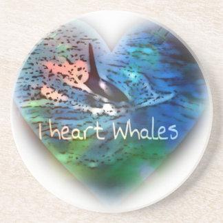 Amo ballenas de la orca en regalos del corazón posavasos cerveza