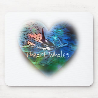 Amo ballenas de la orca en regalos del corazón tapete de ratones