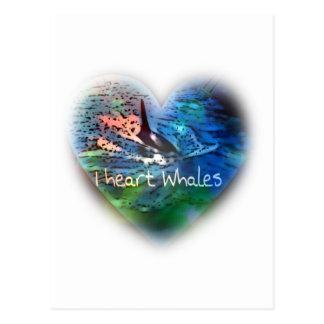 Amo ballenas de la orca en regalos del corazón tarjeta postal