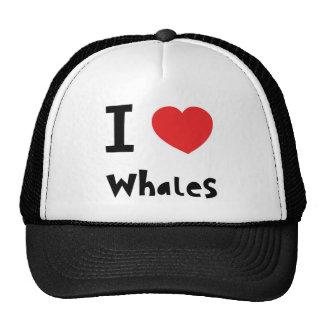 Amo ballenas gorro de camionero