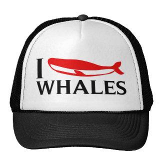 Amo ballenas gorros bordados