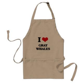 Amo ballenas grises delantal
