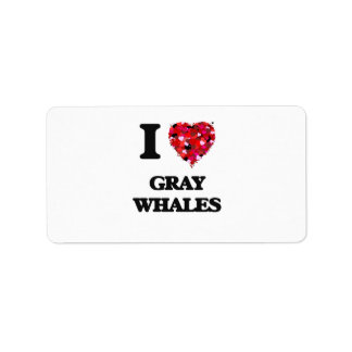 Amo ballenas grises etiquetas de dirección