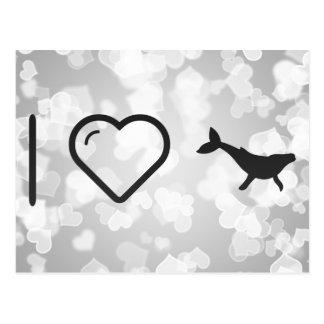 Amo ballenas jorobadas tarjeta postal