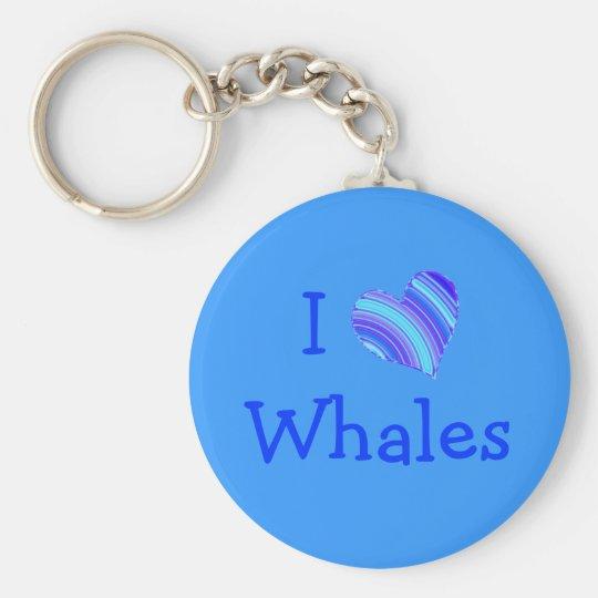 Amo ballenas llavero redondo tipo pin