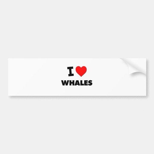 Amo ballenas pegatina para auto