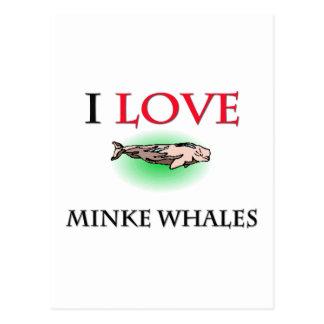 Amo ballenas pequeñas tarjetas postales