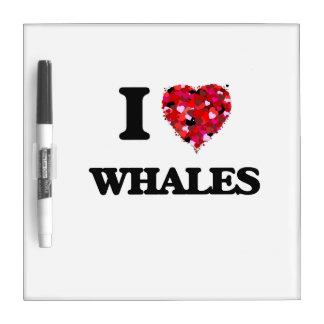 Amo ballenas pizarras blancas de calidad