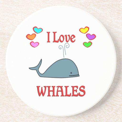 Amo ballenas posavasos para bebidas