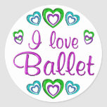 Amo ballet etiquetas redondas
