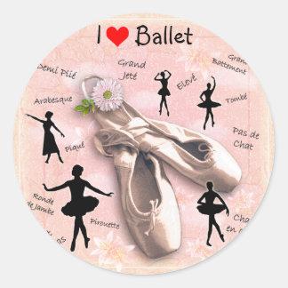 Amo ballet pegatina redonda