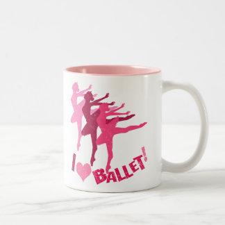 Amo ballet taza de café de dos colores