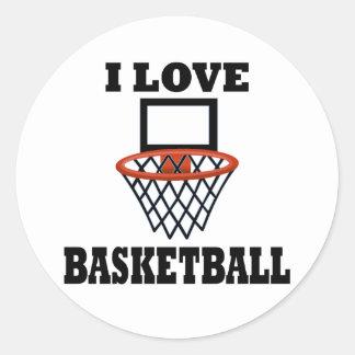 Amo baloncesto de la cesta pegatina redonda