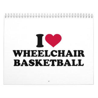 Amo baloncesto de silla de ruedas calendario de pared