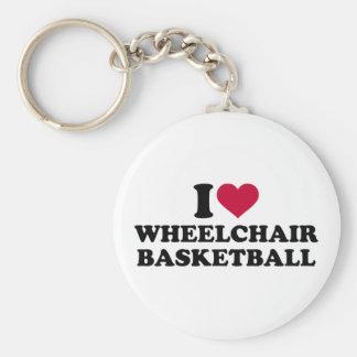 Amo baloncesto de silla de ruedas llavero redondo tipo pin