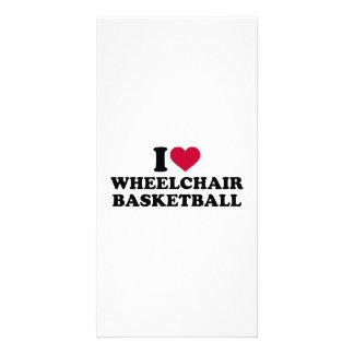 Amo baloncesto de silla de ruedas tarjeta personal con foto