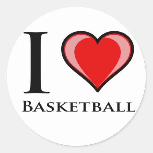 Amo baloncesto etiquetas redondas