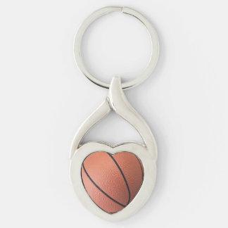 Amo baloncesto llavero plateado en forma de corazón