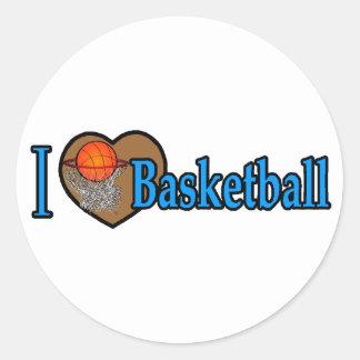Amo baloncesto etiqueta redonda