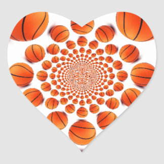 Amo baloncesto pegatina de corazón