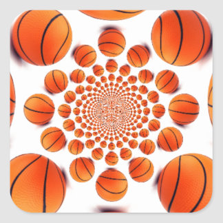 Amo baloncesto pegatina cuadrada