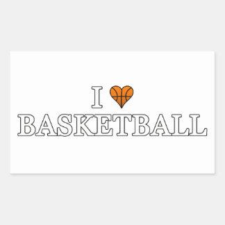 Amo baloncesto pegatina rectangular