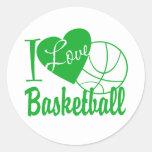Amo baloncesto pegatina redonda