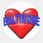 Amo Baltimore Pegatinas Redondas