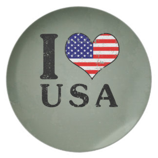 AMO bandera de los E.E.U.U. - América Platos De Comidas