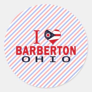 Amo Barberton Ohio Pegatina Redonda