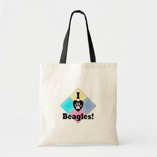 Amo beagles bolsa tela barata