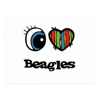 Amo beagles (del corazón) tarjetas postales