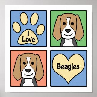 Amo beagles póster