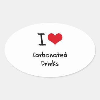 Amo bebidas carbónicas pegatina ovalada