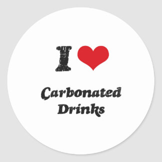 Amo bebidas carbónicas pegatina redonda