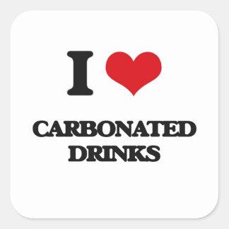 Amo bebidas carbónicas pegatina cuadrada