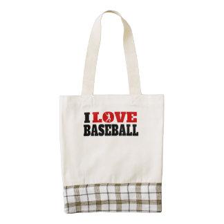 Amo béisbol bolsa tote zazzle HEART