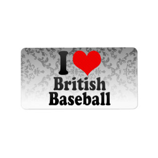 Amo béisbol británico etiqueta de dirección