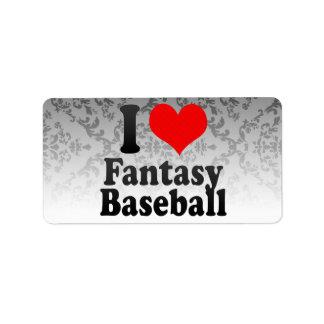 Amo béisbol de la fantasía etiqueta de dirección