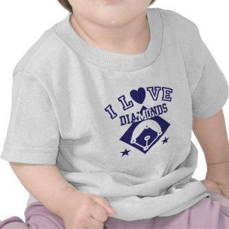 Amo béisbol de los diamantes camisetas