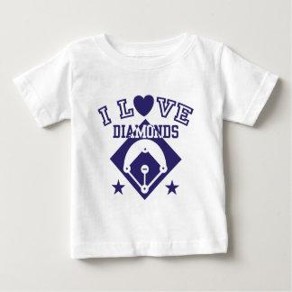 Amo béisbol de los diamantes playera de bebé