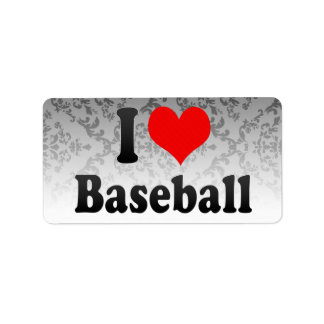 Amo béisbol etiquetas de dirección