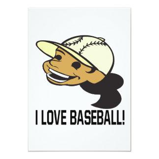 "Amo béisbol invitación 5"" x 7"""