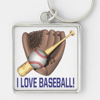 Amo béisbol llavero cuadrado plateado
