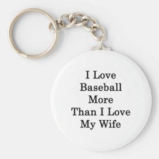 Amo béisbol más que amor de I mi esposa Llavero Redondo Tipo Pin