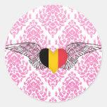 Amo Bélgica - alas Pegatina Redonda