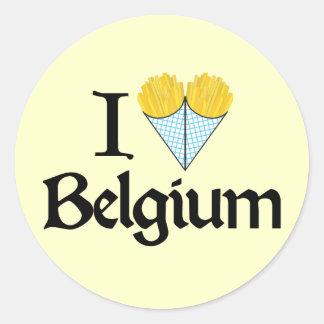 Amo Bélgica Pegatina Redonda